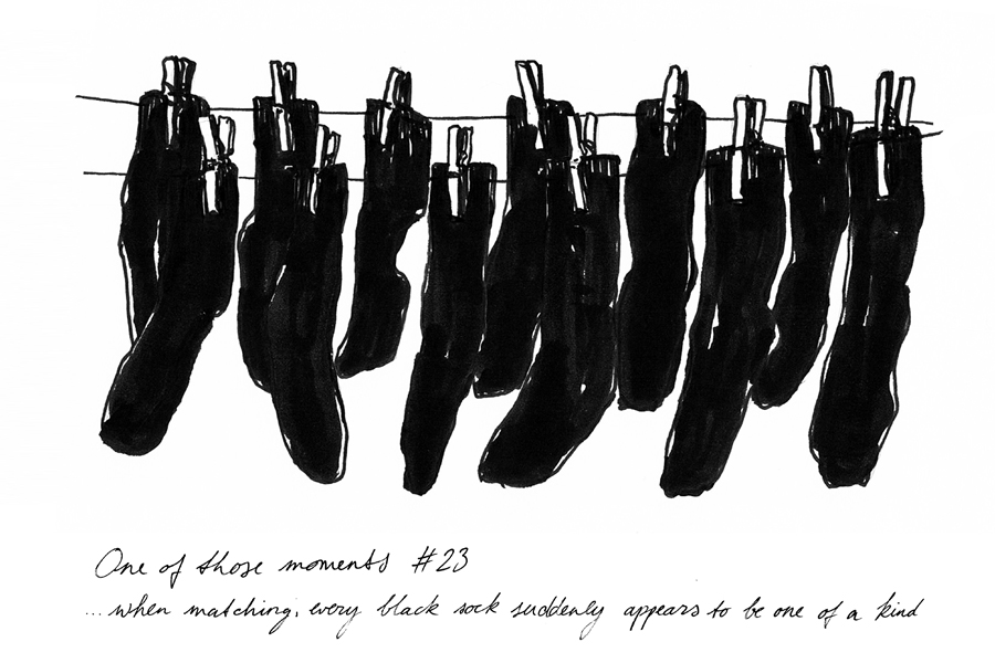 When matching, every black sock suddenly appears to be one of a kind